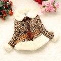 2016 Crianças Do Bebê Meninas da Cópia do Leopardo Faux Fur Gola do Casaco Trespassado Com Outono Inverno Vestir Roupas Casaco Outerwear