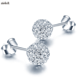 Crystals From Swarovski Plated Silver Stud Earrings Prevent Allergy 6mm Shambhala Spherical Ball Earring Women Brincos Jewelry