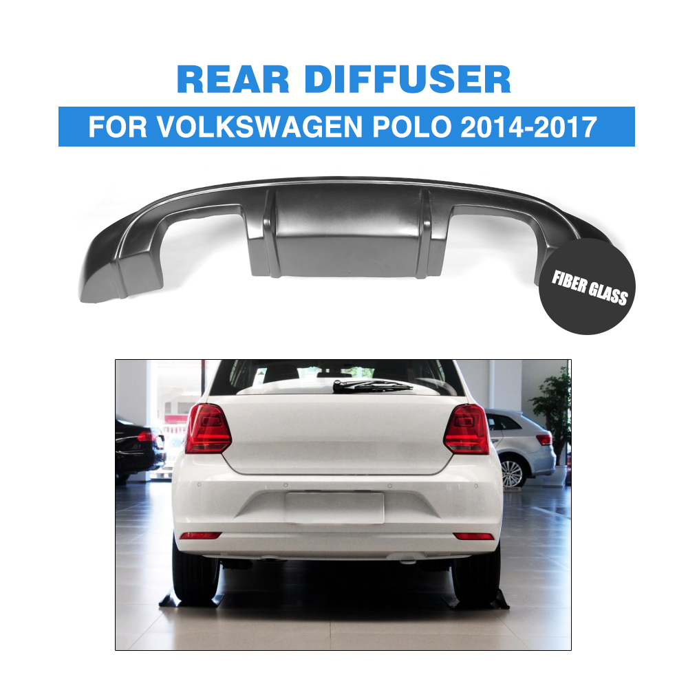 FRP Black Rear Bumper lip diffuser For Volkswagen VW Polo Standard Only 2014-2017 Car Styling