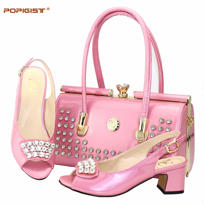 Pink Large Size 38 To 44 Nigerian Shoes and Matching Bag Party Novelty Italian Shoes with