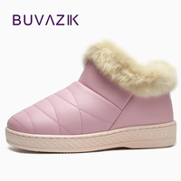 2017 Winter Cotton PU Waterproof Outdoor Non Slip Warm Thickening Women Shoes Short Snow Boots Thicken