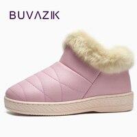 2017 Winter Cotton PU Waterproof Outdoor Non Slip Warm Thickening Women Shoes Short Snow Boots Thicken