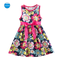цены JUXINSU Girls Summer Cotton Flower Sleeveless Dresses Baby Girl Clothes Casual Dress 1-8 Years