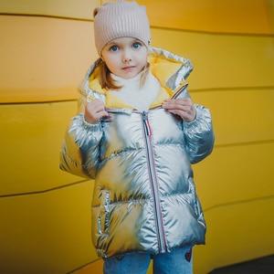 Image 2 - HH garçons manteaux veste dhiver enfants vers le bas coton manteau imperméable snowsuit rose or argent veste à capuche parka filles vers le bas manteaux