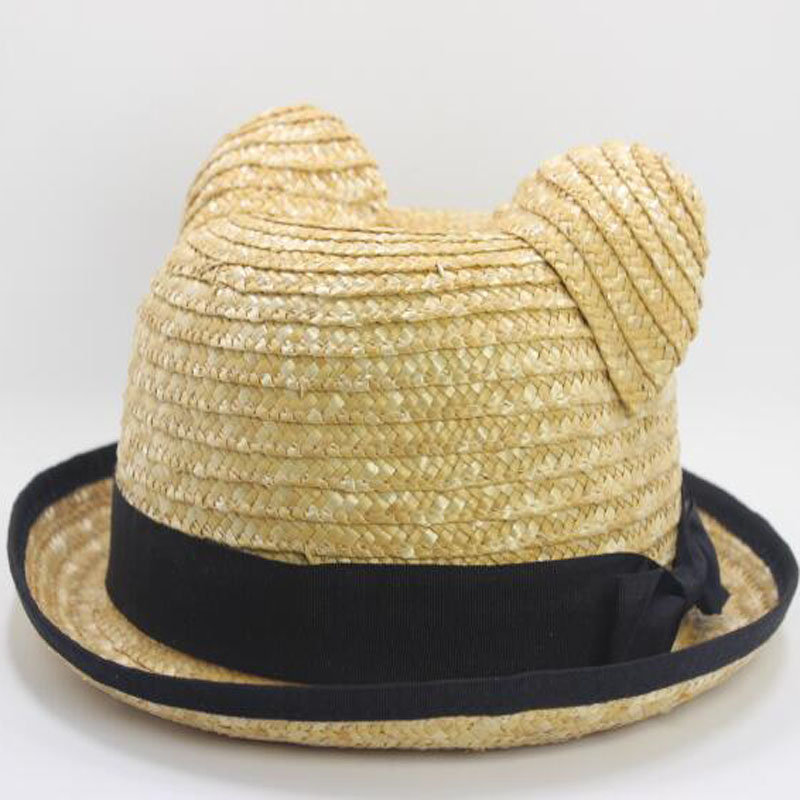 Summer Cat Ears Straw Sun Hat with Bow for Women Hand-Woven Solid Beach Cap Uv Protection Sunhat,Kids 54cm