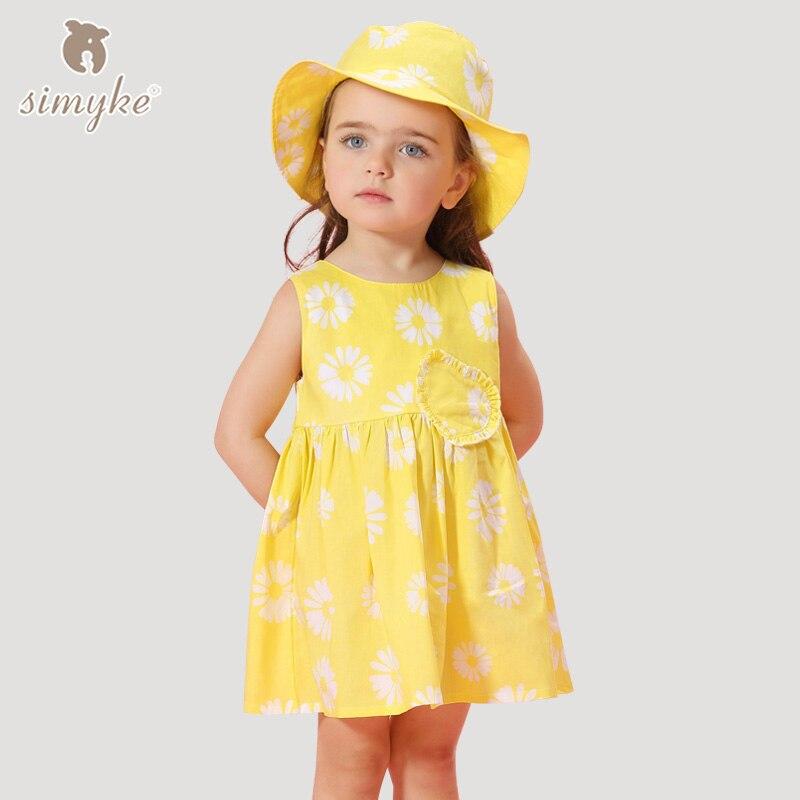 Simyke Kızlar Kolsuz Elbise 2018 Yeni Kız Sarı Çiçek Baskı Elbise Toddler Çocuk Beyaz Giyim çocuk Giysileri W8169