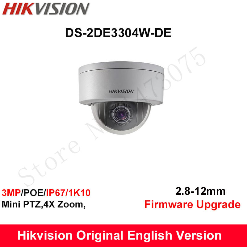 In Stock Hikvision Original English PTZ DS-2DE3304W-DE 3MP Mini PTZ IP Camera 4X Zoom IP67 PoE 2.8-12mm Day/Night CCTV Camera удлинитель zoom ecm 3