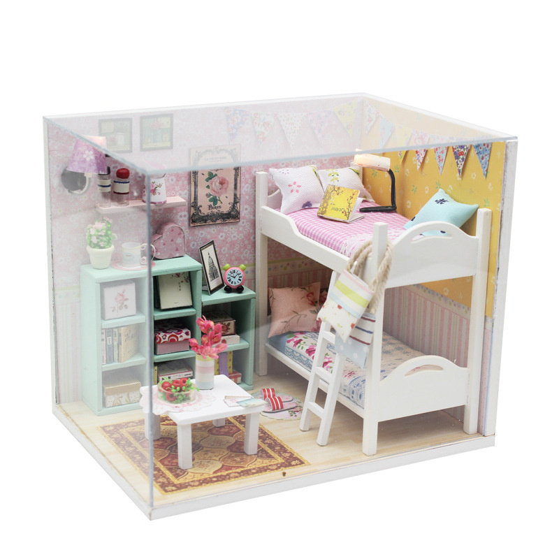 Hot sale Diy Doll House puppenhaus 2 Type Miniature House 3D Model Building Blocks Toys for The Children JHZQW076 hot sale 1000g dynamic amazing diy educational toys no mess indoor magic play sand children toys mars space sand
