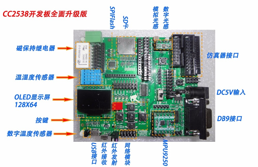Free Shipping  CC2538+cc2592 Development Board, Cortex-M3 Learning Board, ZigBee Development Board