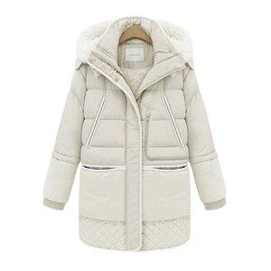 Image 4 - Mulheres midi longo para baixo casaco tamanho grande para baixo jaqueta senhora pato branco para baixo jaqueta com capuz casacos feminino grosso inverno jaqueta outerwear 462