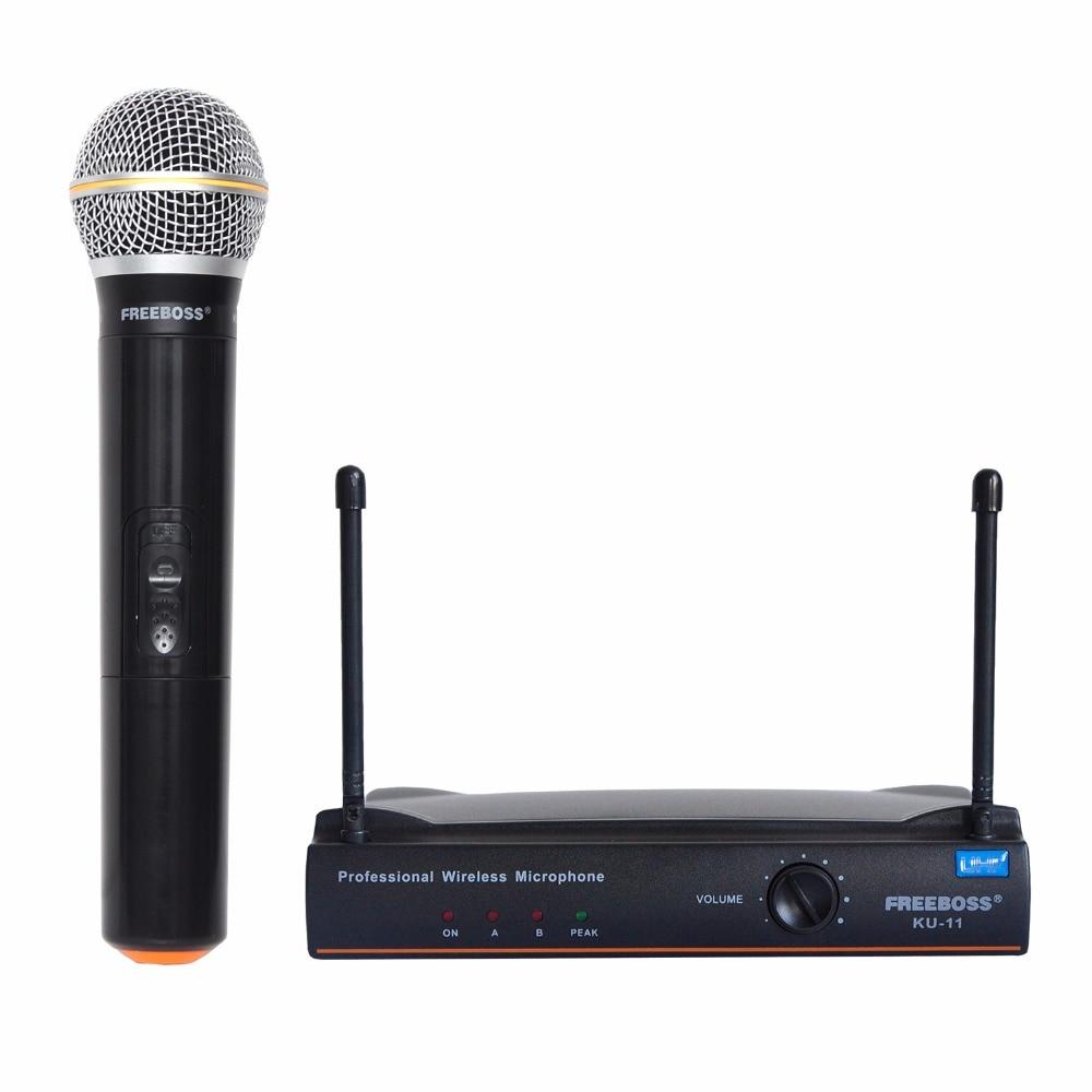 FREEBOSS KU-11 Handheld Mic fm Transmitter Professional Karaoke UHF Wireless cordless Microphone System consumer electronics freeboss ku 22h2 uhf wireless microphone system dj karaoke 2 lapel 2 headset microphone 2 bodypack transmitter