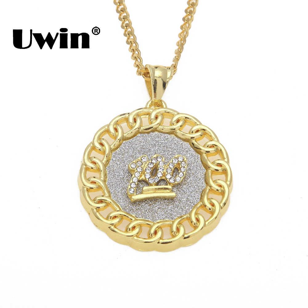 Uwin แฟชั่น Hiphop เครื่องประดับรอบจี้ 100 ลูก, พระเยซู, อินเดีย, Angel, freemason 5 รูปแบบ Gold สีทรายระเบิดสร้อยคอ