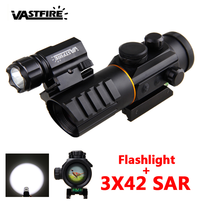 3X42 Riflescope Magnification Red Dot Optic Sight Scope Dot Laser Gun Light 11mm&20mm Picatinny Rail Hunting Rifle Scope Barrel