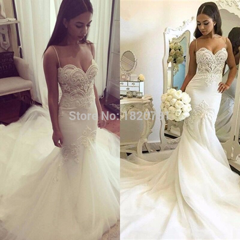 Spaghetti Strap Beach Wedding Dresses 2019 LORIE Vestido Noiva Praia With Beading Tulle Casamento Bridal Gowns Fast Shipping