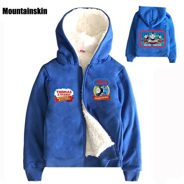 Thomas Casual Kids Winter Hooded Coats Inside Fleece Cartoon Boys Jackets 2-9Y Children's Sweatshirts Brand Kids Clothes SC748