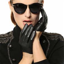 hot sale women genuine leather gloves short paragraph fashion half palm gloves lambskin leather gloves tide performances l098n Fashion Trend Genuine Leather Women Gloves 2018 New Female Dance Sheepskin Gloves Short Style Fingers Unlined L098N-55