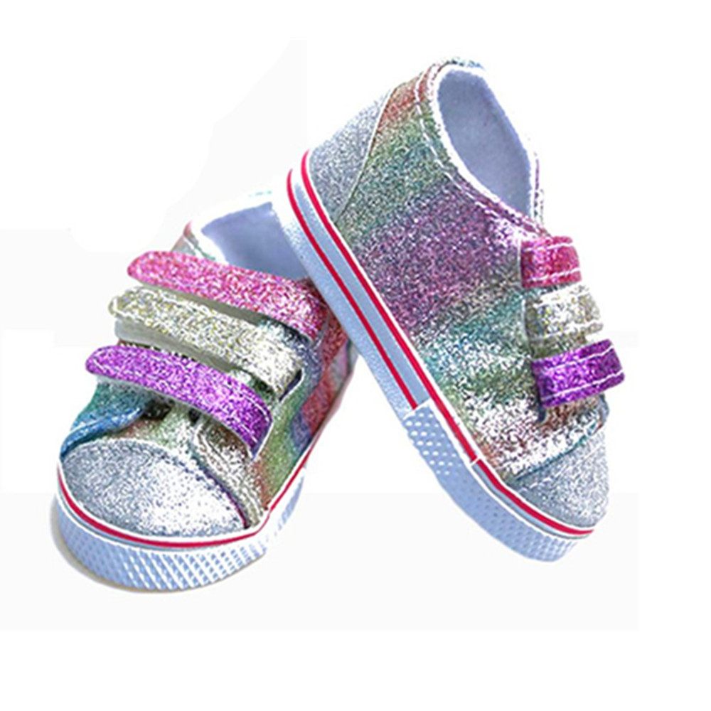 New Cute Style 1 Pair 7cm Doll Sequins Shoes Fits 43CM doll Baby Dolls Shoes For 18inch doll Girls Accessories Gifts 10pairs cute shoes for kelly doll shoes for barbie s sister little kelly baby doll 3 5 1 12 mini dolls shoes doll accessories