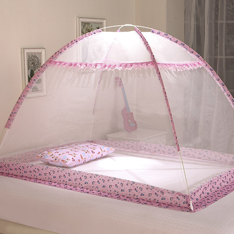 Cute Cartoon Baby Mosquito Net Pink and Blue Color Netting Children Bracket bed net, Infant Mongolian Yurt Mosquito Curtain