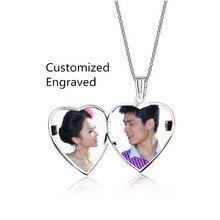 Sunshien Fina DIY tarjeta de Corazón Abierto Colgante letras personalizado etiquetas de fotos collares Forever Love Regalos Mujeres de La Moda de Nueva Joyería