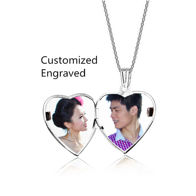Sunshien Fine DIY Open Heart Pendant lettering card customized photo tags necklaces Forever Love Gifts Fashion Women New Jewelry