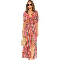 Rainbow Runway Dress Shirt Women Robe Ete 2019 Femme Bohemian BOHO Summer Beach Long Dresses Casual Vertical Striped Maxi Dress