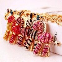 Lovely 5 Colors Animal Crystal Rhinestone Keyrings Keychains Bag DIY Pendants Zebra Horse Key Chains Rings