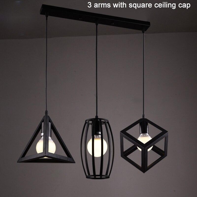 Darvin E27 Lumières Lampe Suspension de Style Américain 3 bras 1 bras Géométrie Pendentif Lumière En Aluminium/Chrome 110-240 V Salle À Manger Lumineuse
