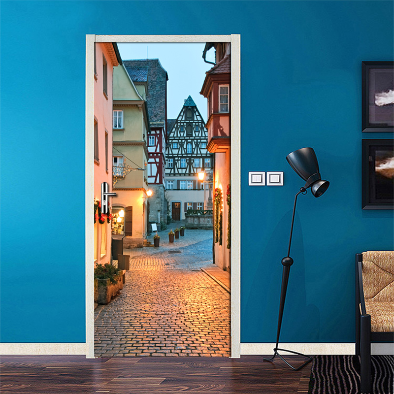 3D Door Stickers PVC Self-adhesive Waterproof Wall Painting City Night Scene Mural Living Room Bedroom Door Decoration Wallpaper creative waterproof flowers pattern wall stickers for living room bedroom decoration