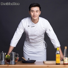 2019 summer unisex casual soft chef jackets oblique collar double breasted kitchen catering restaurant food serive workwear