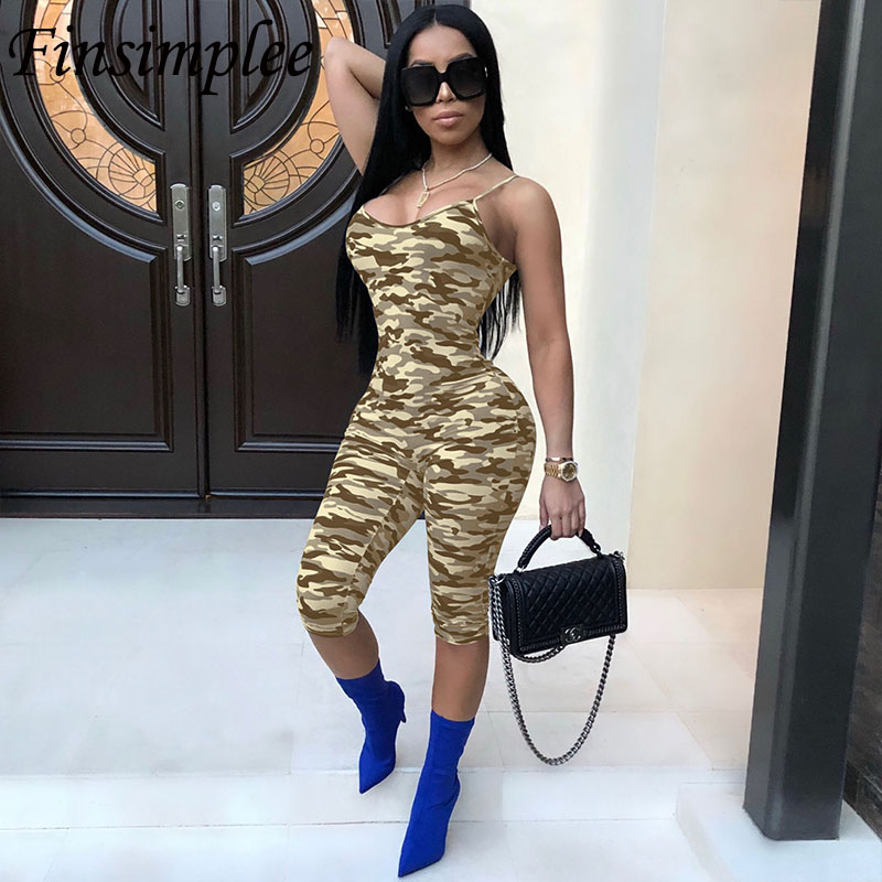 Camouflage Jumpsuits Print Plus Size High Waist Sexy V Neck Sleeveless Bodycon Rompers Night Club Skinny Summer Overalls Women