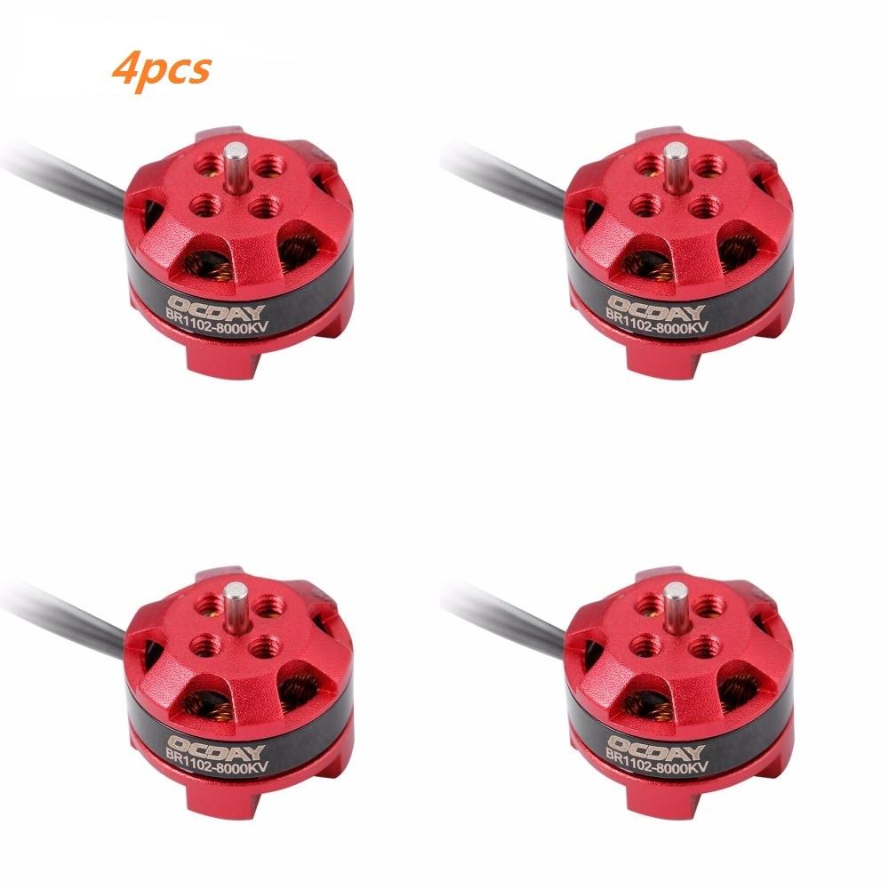 OCDAY RC Motor 4pcs 1102 BR1102 8000KV 1-3S Brushless Motor for 50-90mm Micro FPV Racing Drone Quadcopter 4pcs se1104 kv4000 kv6000 kv7500 brushless motor with 2pairs 2035 2045 propellers for rc quadcopter fpv racing drone