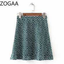 ZOGAA Women High Waist A Line Mini Skirt Floral Polka Dot Print Ruffles Skirt Girls Sexy Streetwear Mini Faldas Mujer Moda 2019 polka dot print hanky hem skirt