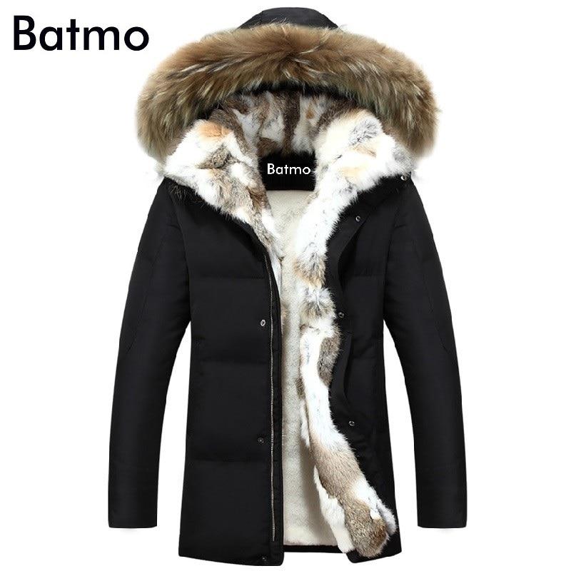 2019 зимняя куртка на утином пуху, Мужское пальто, парка, теплая подкладка, женская теплая одежда, воротник из кроличьего меха, высокое качество, плюс Размер S до 5XL