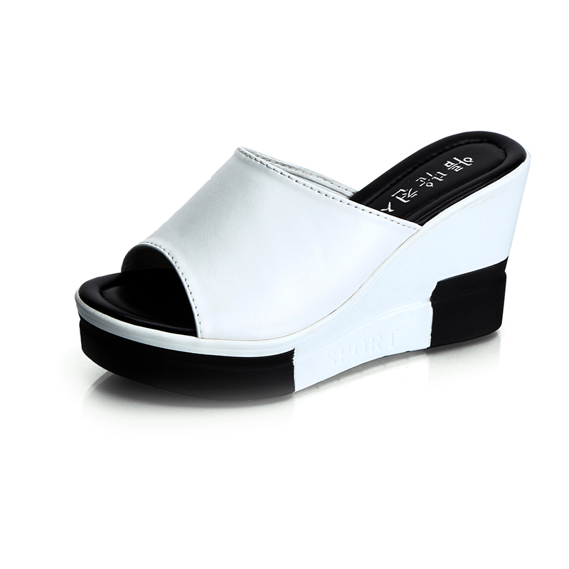 2017 new summer comfort high heels black and white