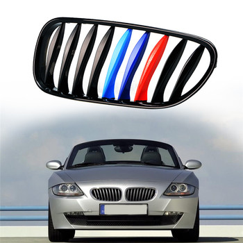 3D Front Grille Trim Strips Grill Cover Decoration Stickers for BMW E85 E86 Z4 2003-2008 Convertible Coupe (9 Grilles) image