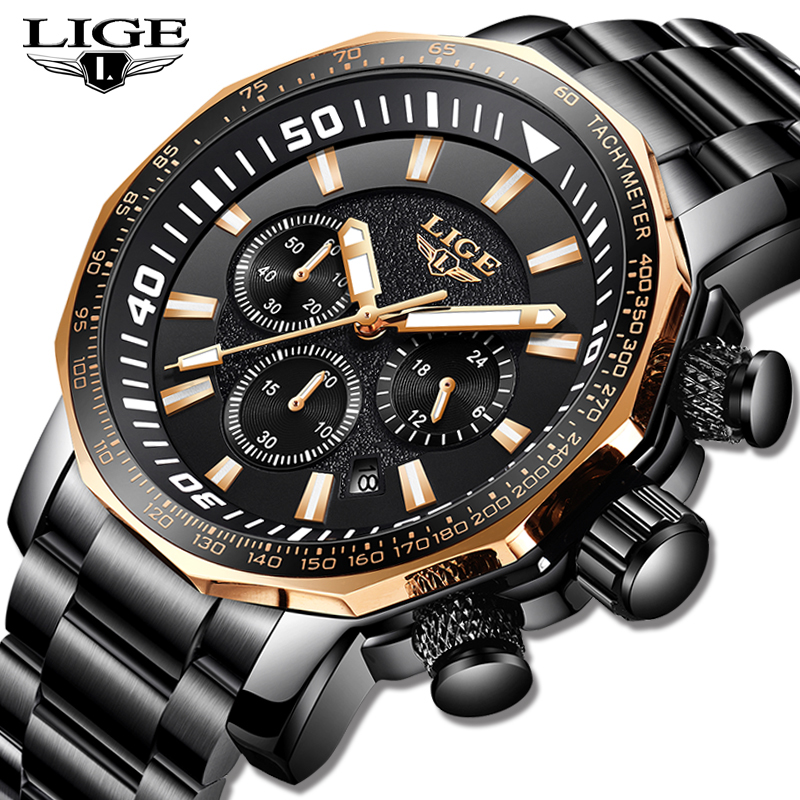 Men Watches LIGE Fashion Top Brand Luxury Business Big Dial Quartz Watch Men Casual Full Steel Waterproof Watch Reloj Hombre+BoxMen Watches LIGE Fashion Top Brand Luxury Business Big Dial Quartz Watch Men Casual Full Steel Waterproof Watch Reloj Hombre+Box