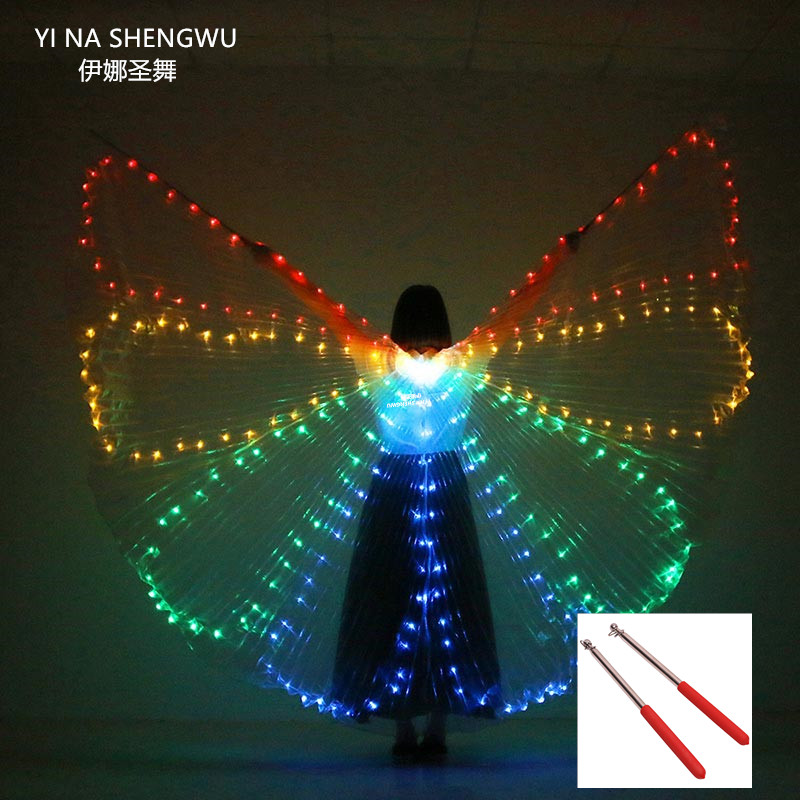 Colorful Belly Dance Performance Costume LED light Wings Dance Accessories LED Wings Costume LED Butterfly Wings