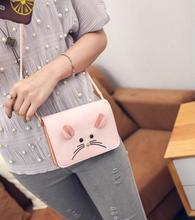 Горизонтальные телефона моды милый маленький мышь мультфильм девушка милый карман для мобильного телефона изменить Пакет Конверт качество женщины сумку