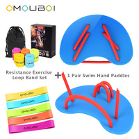 OMOUBOI Blue Plastic Semicircle Pro Swim Hand Fins Flippers Hand Paddles W/Fitness Resistance Bands For Swimming Diving Train
