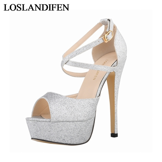 Brand Women Shoes Sexy Sequined Womens Glitter Pumps 9