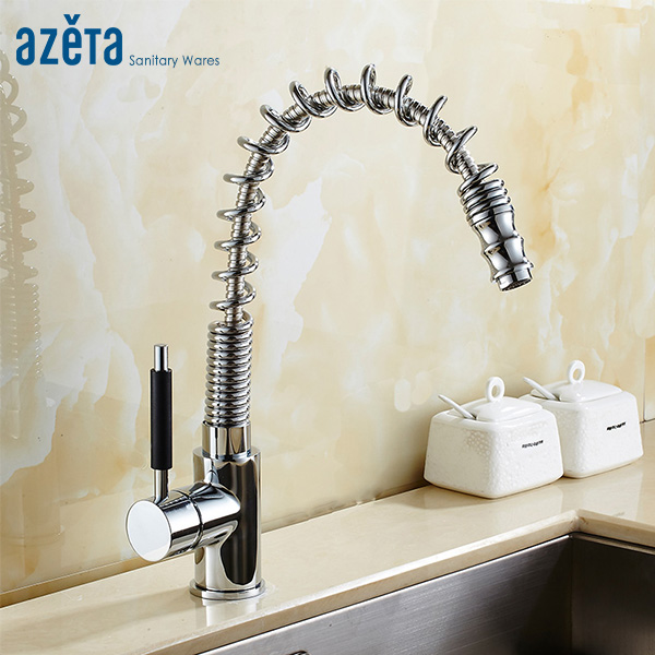 Azeta Pull Down Kitchen Faucet Chrome Brass Kitchen Mixer Tap Single Handle Kitchen Sink Tap Deck Mounted Kitchen Faucet AT9908B