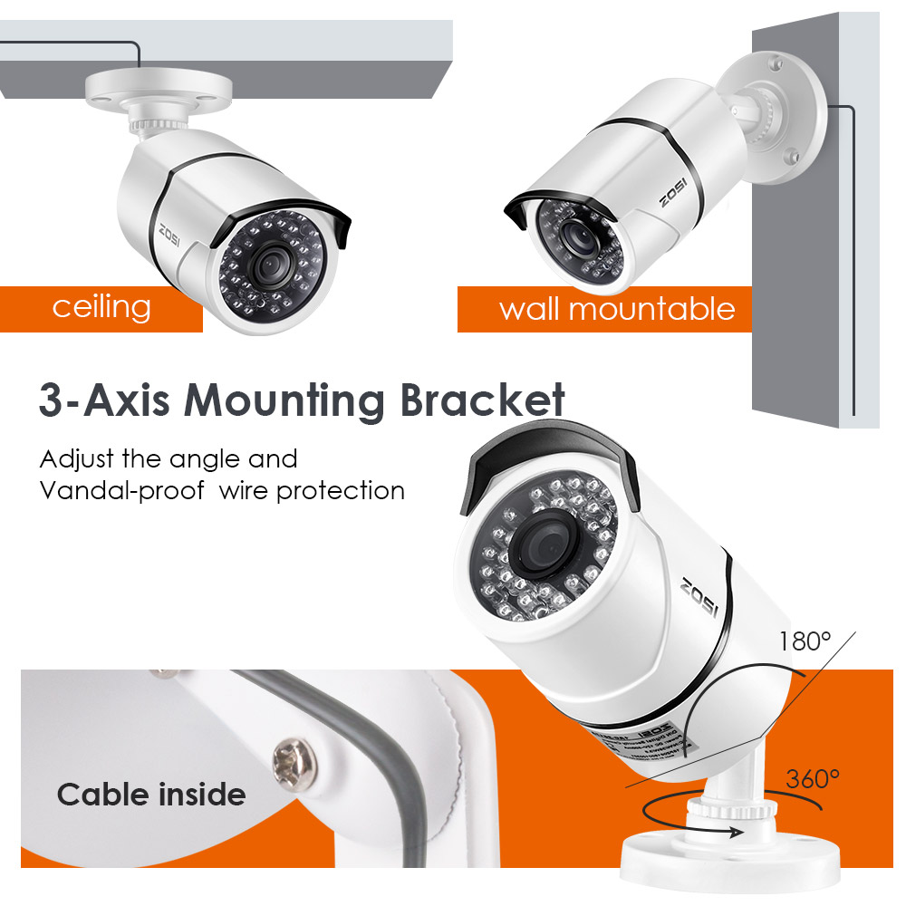 ZOSI 2CH Home Surveillance System 4CH DVR Kit HD 1080P CCTV System 2 stücke 2MP Outdoor Video Überwachung Kamera set Home Security