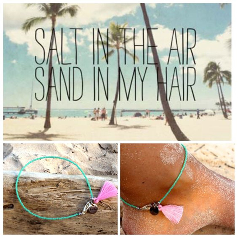 Dongmu Jewellery Handmade Summer Anklet Beads New Boho Barefoot Beach Bohemian Anklet Hippie Style Beaded Ankle Bracelet