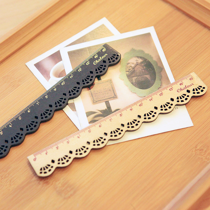 2Pcs/set Korea Kawaii Cute Stationery LACE Wood Ruler Sewing Rulers School Kids Stationary Essential Present Gift Reward
