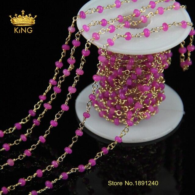 341515481be3 Fushia colores Jade facetado perlas cadena de bricolaje rosario ...