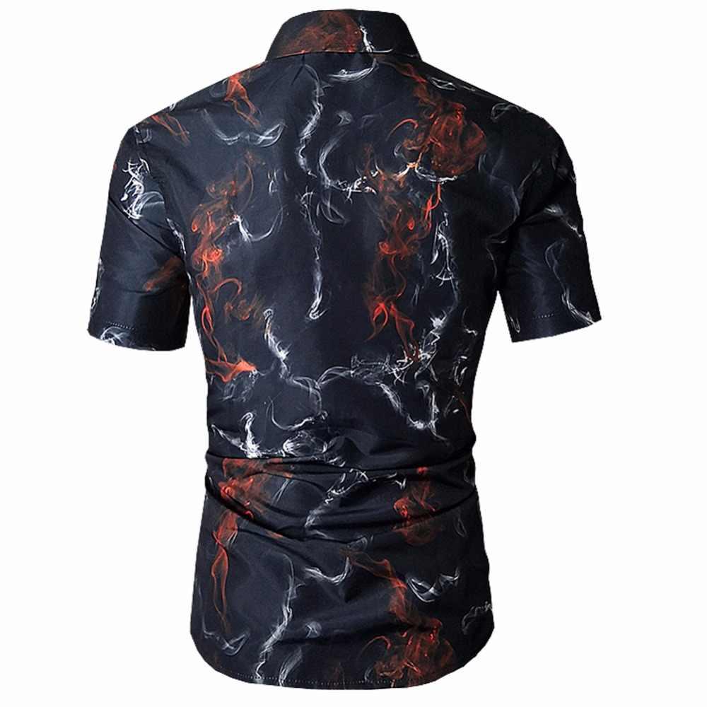 2018 летняя новая Гавайская Мужская рубашка с цветами с 3D принтом, модная повседневная мягкая удобная рубашка с короткими рукавами Camisa Masculina