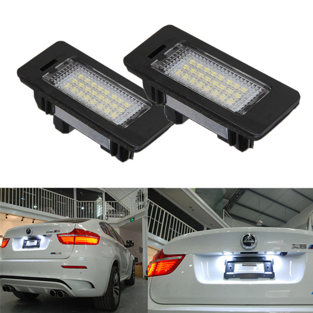 2pcs/Pair 24 Led license plate led light Lamp White 6000K Error Free For BMW E39 M5 E70 E71 X5 X6 E60 M5 E90 E92 E93 M3 525i 2x e marked obc error free 24 led white license number plate light lamp for bmw e81 e82 e90 e91 e92 e93 e60 e61 e39 x1 e84