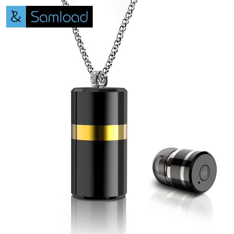 Samload Wireless Mini Bluetooth Pendant Earphone Stereo Sports Earbuds Mic Headset Necklace Headphone Metal For with Storage Box