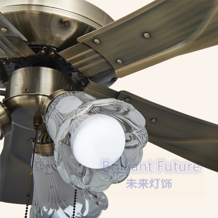 LED ceiling fans lamp brown color wood 3 light 5pcs of Blades 110 220V 42 Inch 106cm Pull switch in Ceiling Fans from Lights Lighting