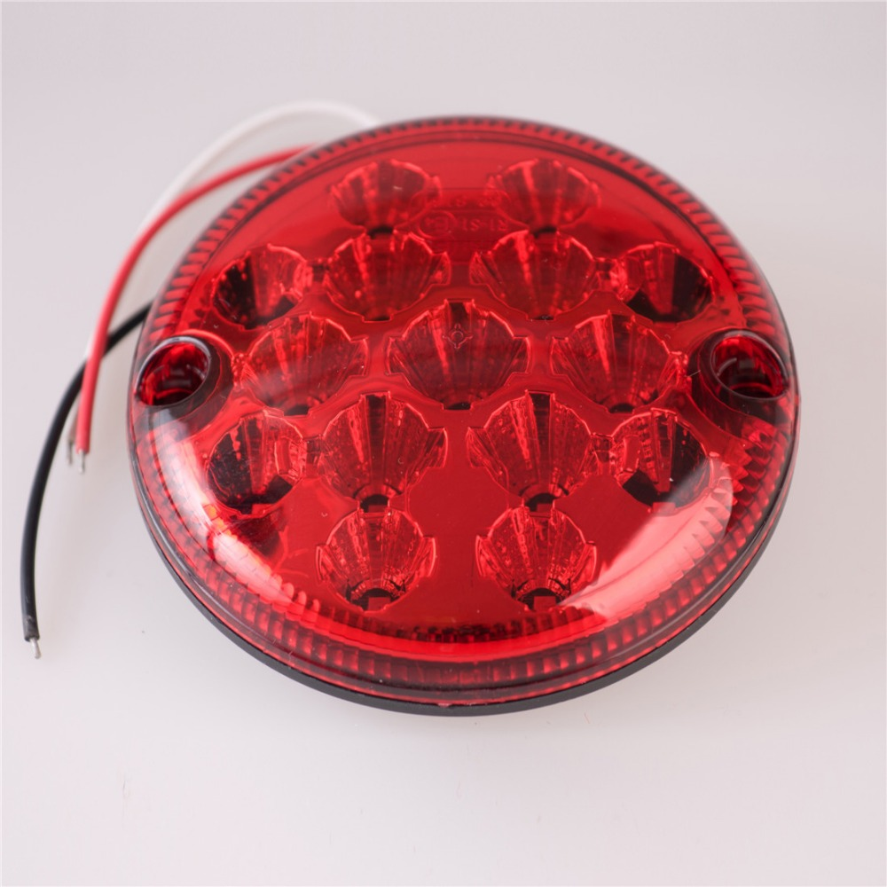 2pcs 12V/24V LED 95mm Round Parking Lights Truck Waterproof Stop Tail Light Brake Lights